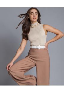 Calça Pantalona Cintura Alta Bege Georgia - Lez A Lez