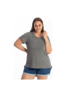 Blusa Mullet Gola Redonda Lisa Feminina Plus Size Tapa Bumbum Academia Chumbo