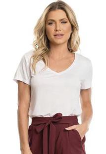 Blusa Em Malha Com Decote V Branco
