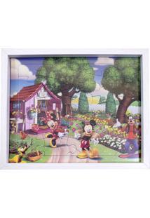Porta Retrato Minas De Presentes Quebra Cabeça Mickey Minnie & Pateta 22X27Cm - Disney Branco
