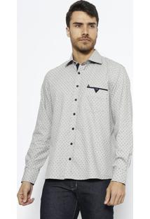 Camisa Slim Fit Com Bolso & Bordado- Cinza Claro & Azul Vip Reserva