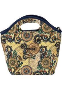 Bolsa Ana Viegas Handbag Tecido Mão Forro Impermeável Prática Feminina - Feminino-Bege