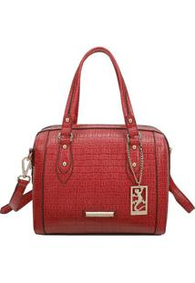 Bolsa Texturizada Com Tag- Vermelha & Dourada- 21X27Fellipe Krein