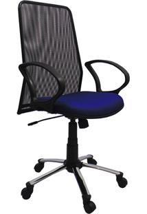 Cadeira Presidente Tela Giratória Cromada E Azul - At.Home