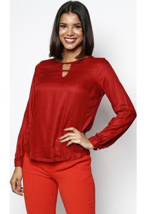 Blusa Lisa Com Vazados - Vermelho Escurovip Reserva