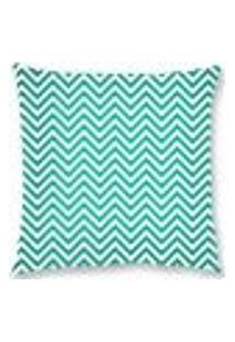 Capa De Almofada Veludo Zigzag 45X45Cm Azul/Branco Decoração