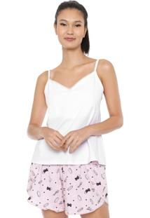Pijama Malwee Liberta Estampado Branco/Rosa