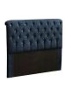 Cabeceira Casal Alice 140 Cm Suede Azul Marinho Com Strass Casah