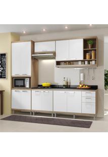 Cozinha Compacta 11 Portas Sicília Com Tampo 5809 Branco/Argila - Multimóveis