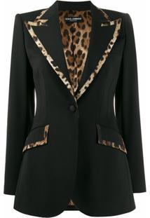 Dolce & Gabbana Blazer Slim Com Estampa De Leopardo - Preto