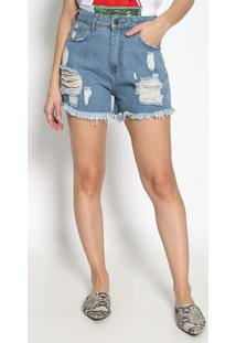 Short Jeans Com Destroyed - Azul Claro- M. Officerm. Officer