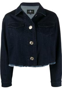 7 For All Mankind Frayed-Hem Cropped Denim Jacket - Azul