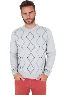 Blusa G'Dom Cinza Frente Geométrica