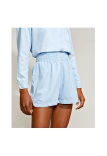 Short Feminino Mindset Running Cintura Alta Pijama Azul Claro