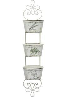 Floreira Para Parede- Branca & Verde- 104X25X18Cm