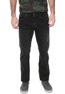 Calça Jeans Billabong Reta Desgastes Preta