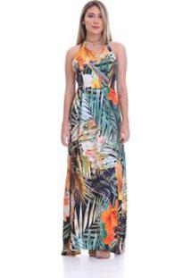 0c187c6419 ... Vestido Clara Arruda Longo Decote Costas Estampado Feminino - Feminino -Verde+Laranja