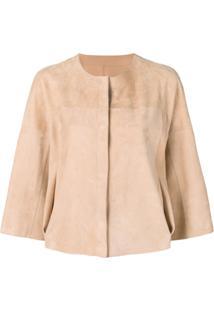 Drome Cropped Sleeves Leather Jacket - Neutro