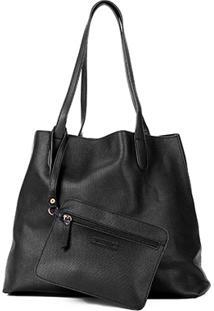 Bolsa Shoestock Shopper Textura Feminina - Feminino-Preto