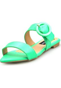 Sandalia Love Shoes Rasteira Bico Folha Básica Fivela Abs Neon Verde - Tricae