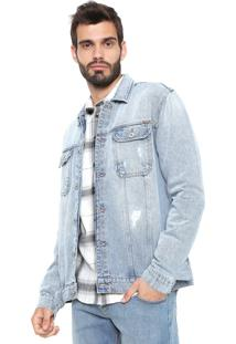 Jaqueta Jeans Forum Desgastes Azul