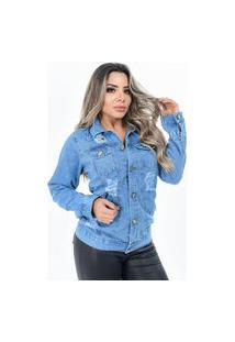 Jaqueta Max Jeans Feminina Destroid Clara E Escura Ninas Boutique