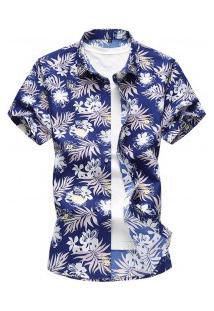 Camisa Masculina Estampa Havaiana - Azul