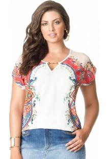 Blusa Sublimada Plus Size Branca
