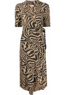 Ganni Vestido Envelope Com Estampa De Tigre - Neutro