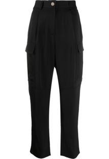 Calvin Klein Calça Cintura Alta Com Bolsos Laterais - Preto