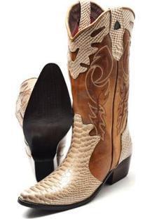 Bota Country Texana Click Calcados Montaria Couro Cano Longo Bico Fino Feminina - Feminino-Caramelo+Dourado