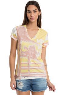 T-Shirt De Malha De Viscose Com Estampa