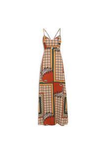 Vestido Longo Tecido Estampado - Bege