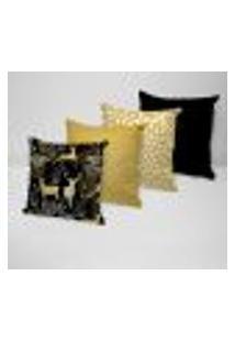 Kit 4 Capas Para Almofadas Decorativas Renas Douradas 45X45Cm