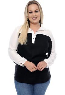 Camisa Feminina Bicolor Plus Size
