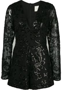 Alexis Riso Embellished Playsuit - Preto
