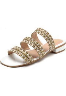 Tamanco Dafiti Shoes Tiras Branco