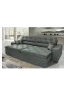 Sofá Austin 2,42M Retrátil Reclinável, Molas No Assento E Almofadas, Tecido Suede Velusoft Grafite