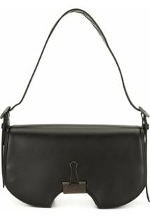 Off-White Leather Swiss Flap Shoulder Bag - Preto