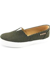 Tênis Slip On Quality Shoes Feminino 002 Preto Poá Dourado 40