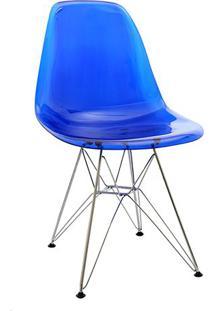 Cadeira Eames Dkr- Azul & Prateada- 80,5X46,5X42Cm