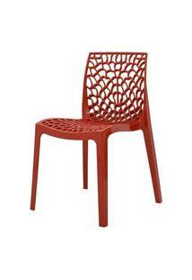 Cadeira Gruver Em Polipropileno Cor Vermelho - 44968 Preto