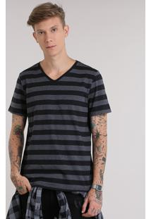 Camiseta Listrada Preta