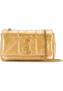 Saint Laurent Bolsa Tiracolo Com Placa De Logo - Dourado