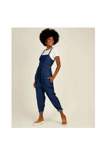Macacão Feminino Jeans Alças Finas Cambos Premium