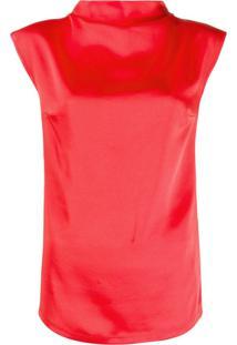 Styland Blusa Com Decote Drapeado - Vermelho