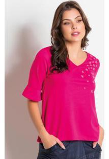 Blusa Moda Evangélica Rosa Com Termocolantes