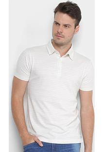 Camisa Polo Handbook Malha Listrada Masculina - Masculino-Off White