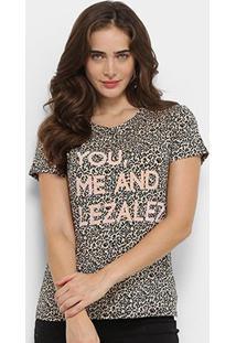 Camiseta Lez A Lez Estampada You And Me Feminina - Feminino-Onça+Preto