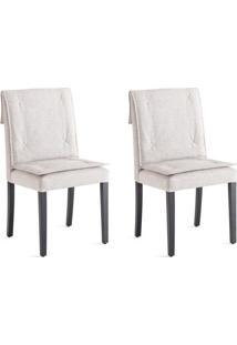 Conjunto Com 2 Cadeiras De Jantar Lily Cinza E Ebanizado